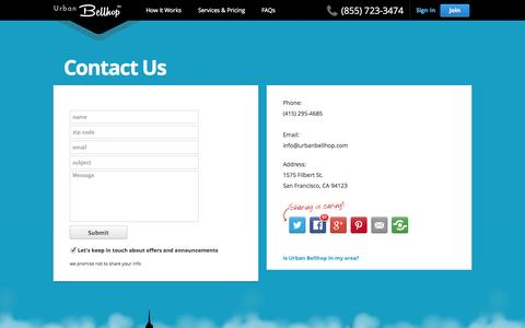 Screenshot of Contact Page urbanbellhop.com - Urban Bellhop -   Contact - captured Oct. 9, 2014