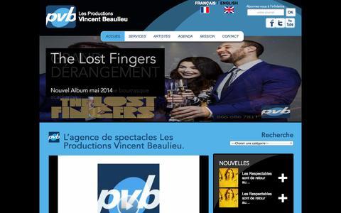 Screenshot of Home Page vincentbeaulieu.com - Agence de spectacles Productions Vincent Beaulieu Québec et Montréal - captured Oct. 3, 2014