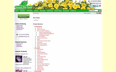 Screenshot of Site Map Page kernock.co.uk - Kernock Park Plants - captured Oct. 6, 2014