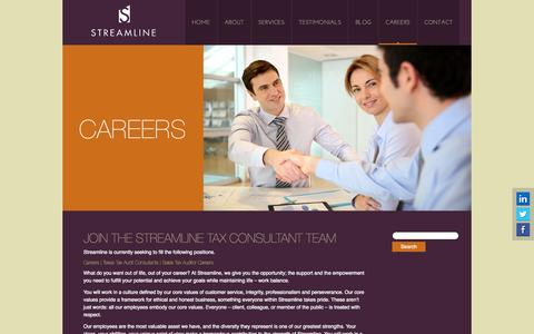 Screenshot of Jobs Page streamlinetax.com - Careers | Texas Tax Audit Consultants | Sales Tax Auditor Careers - captured Oct. 8, 2014