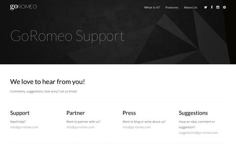 Screenshot of Support Page goromeo.com - GoRomeo Support – GoRomeo App - captured Nov. 11, 2016