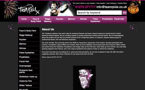 Screenshot of About Page teampixie.co.uk - About Us - captured Oct. 2, 2014