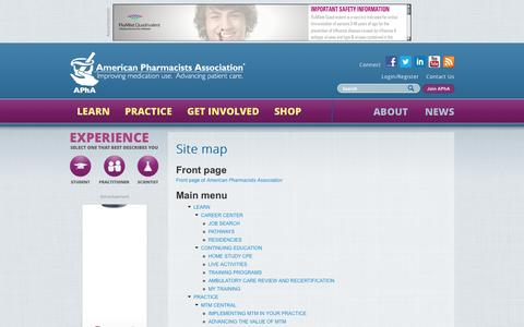 Screenshot of Site Map Page pharmacist.com - Site map | American Pharmacists Association - captured Nov. 2, 2014