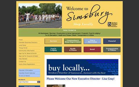 Screenshot of Home Page simsburycoc.org - Simsbury Chamber of Commerce - Simsbury CT - captured Oct. 4, 2014