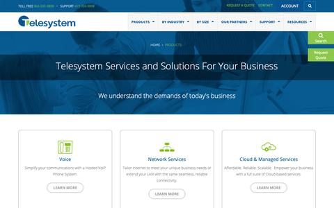 Screenshot of Products Page telesystem.us - Products | Business Phone Services and Internet - Telesystem - captured Oct. 7, 2018