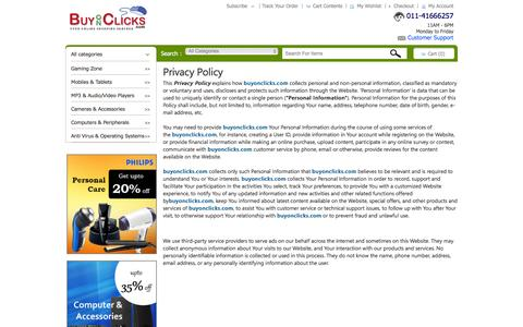 Screenshot of Privacy Page buyonclicks.com - Privacy Policy Shop Online  Barcode Scanner, Mobile, Games & More at BuyOnClicks.Com - captured Feb. 8, 2016