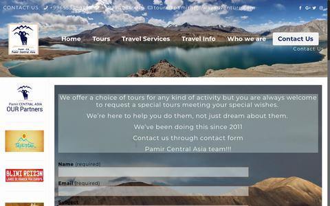 Screenshot of Contact Page pamirhighwayadventure.com - Contact Us | Pamir Central Asia - captured July 15, 2018