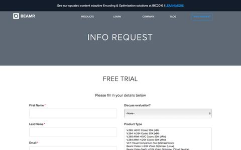 Screenshot of Trial Page beamr.com - Beamr | Info Request - captured July 28, 2016