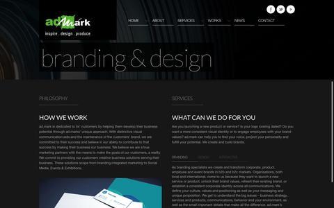Screenshot of Services Page admarkgulf.com - ad.mark branding & design   film & video production   visual communications agency   Bahrain - Qatar     ad.mark - captured Oct. 4, 2014