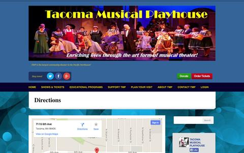 Screenshot of Maps & Directions Page tmp.org - Directions | TMP: Tacoma Musical Playhouse - captured Oct. 9, 2014