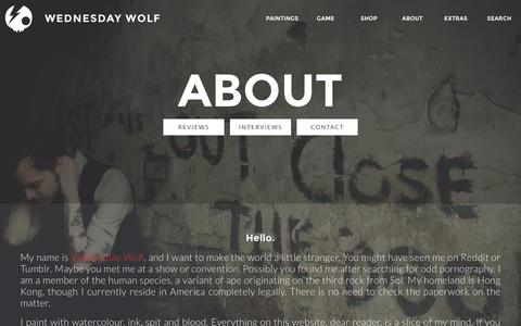 Screenshot of About Page Contact Page wednesdaywolf.com - Wednesday Wolf - captured Feb. 24, 2016
