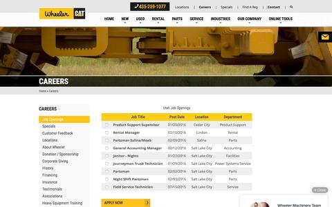 Screenshot of Jobs Page wheelercat.com - Careers | Wheeler CAT - captured Feb. 14, 2016