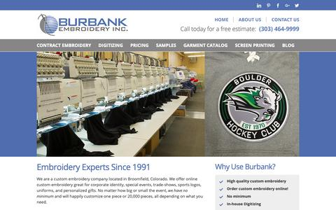 Screenshot of Home Page burbankembroidery.com - Burbank Embroidery | Custom Embroidery in Denver Colorado - captured Nov. 6, 2018