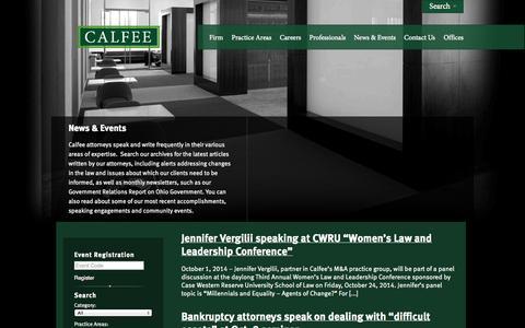 Screenshot of Press Page calfee.com - News | Calfee, Halter & Griswold LLP - captured Oct. 1, 2014