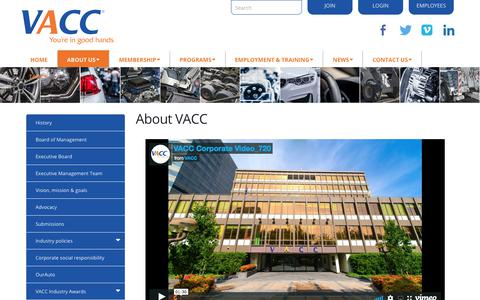 Screenshot of About Page vacc.com.au - About us - captured March 5, 2018