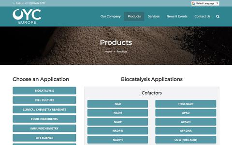 Screenshot of Products Page oyceu.com - Products – OYC EU | Your reliable partner in Biochemical Raw Material and Life Science Service - captured Oct. 25, 2017