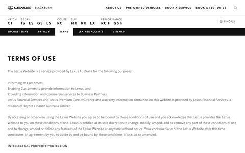 Screenshot of Terms Page lexusofblackburn.com.au - Terms of Use: Lexus Australia | Lexus - captured May 18, 2017