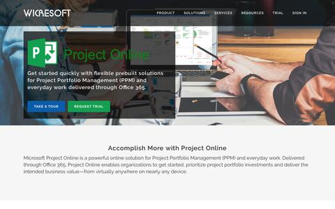 Screenshot of Home Page project-online.com - Project Online | Office 365 Project Management Software - captured July 9, 2018