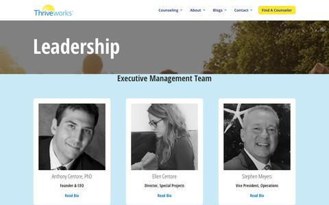Screenshot of Team Page thriveworks.com - Leadership - Thriveworks - captured Sept. 19, 2018