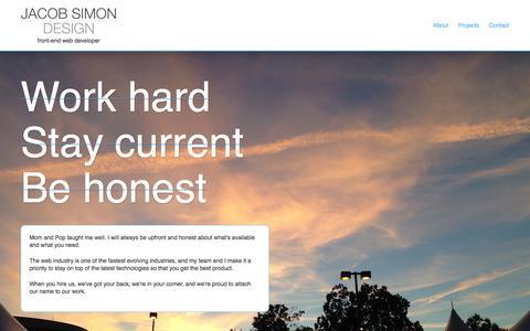Screenshot of About Page jacobsimon.com - Jacob Simon Design - Front end Web Developer - captured Oct. 6, 2014