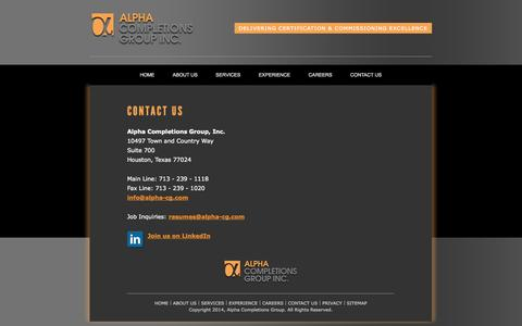 Screenshot of Contact Page alpha-cg.com - Contact Alpha Completions Group-leaders in completions and commissioning services - captured Oct. 4, 2014