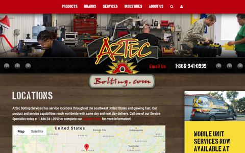 Screenshot of Locations Page aztecbolting.com - Locations | Aztec Bolting - captured Oct. 4, 2018