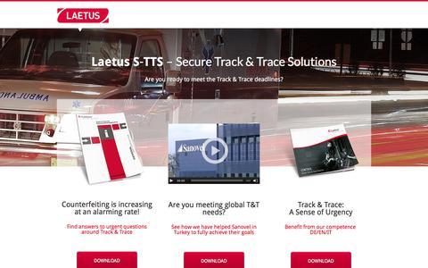 Screenshot of Home Page securetrackandtrace.com - Laetus S-TTS - captured Feb. 4, 2016