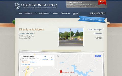Screenshot of Contact Page Maps & Directions Page cornerstone-schools.com - Directions & Address - Cornerstone Schools - captured Nov. 3, 2018