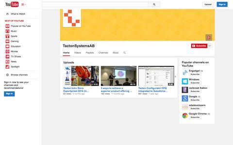 Screenshot of YouTube Page youtube.com - TactonSystemsAB  - YouTube - captured Nov. 1, 2014