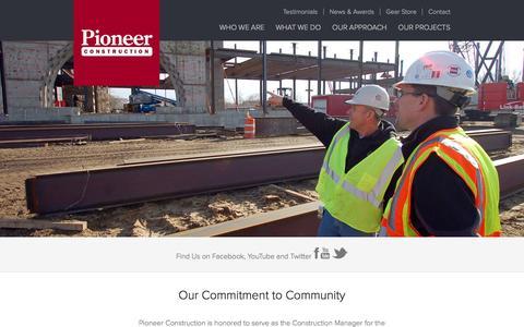 Screenshot of Home Page pioneerinc.com - Construction Company   General Contractor   Builder   Pioneer Construction - captured Jan. 28, 2016
