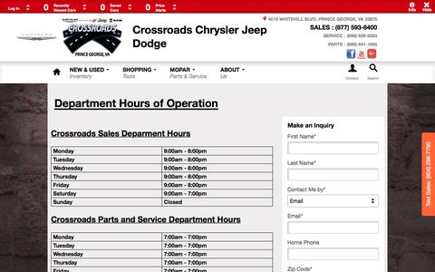 Screenshot of Hours Page crossroadschryslerjeepdodge.net - Crossroads Chrysler Jeep Dodge | New Chrysler, Dodge, Jeep, Ram dealership in Prince George, VA 23875 - captured Jan. 28, 2017