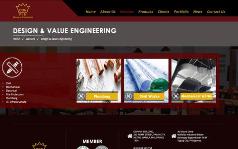 Screenshot of Services Page donpincorp.com - Don Pin Corporation | Design & Value Engineering - captured Oct. 9, 2018