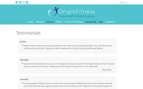 Screenshot of Testimonials Page originfitness.com.au - Origin Fitness Personal Training Penrith Testimonials - captured Dec. 21, 2016