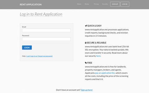 Screenshot of Login Page rentapplication.net - Rental Application Templates | Free Online Rent Application - captured Oct. 9, 2014