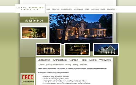 Screenshot of Home Page olpky.com - Outdoor Lighting Perspectives of Louisville - captured Oct. 6, 2014