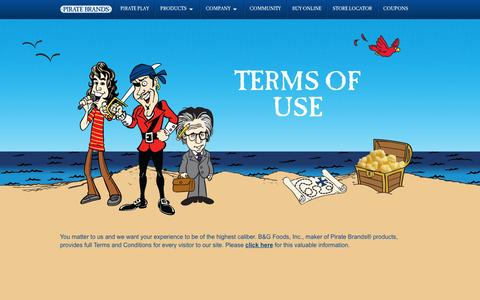 Screenshot of Terms Page piratebrands.com - Terms of Use | Pirate Brands - captured May 9, 2017