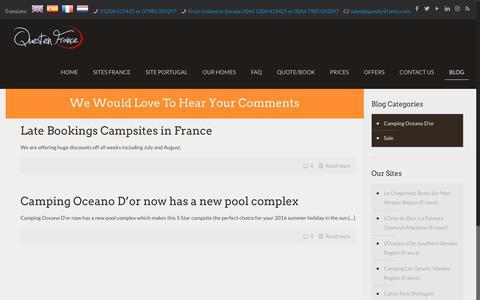 Screenshot of Blog questenfrance.com - Questen France Blog - captured Oct. 21, 2018
