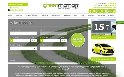 Screenshot of Home Page greenmotion.com - Green Motion | Car Hire  | Deals | Green Vehicles | International - captured Sept. 17, 2015