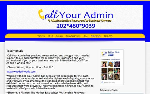 Screenshot of Testimonials Page callyouradmin.com - Testimonials | Call Your Admin - captured Sept. 27, 2014