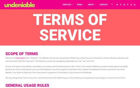 Screenshot of Terms Page undeniable.co - Terms of Service | Undeniable - captured Oct. 20, 2018