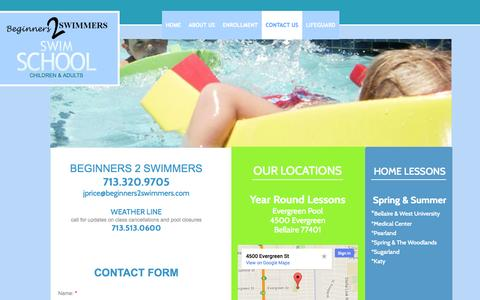Screenshot of Contact Page Maps & Directions Page beginners2swimmers.com - Beginners 2 Swimmers : Contact - captured Oct. 23, 2014