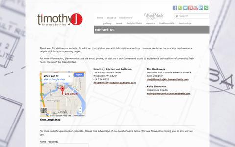 Screenshot of Contact Page timothyjkitchenandbath.com - contact us | timothyj kitchen and bath, inc.timothyj kitchen and bath, inc. - captured Oct. 5, 2014