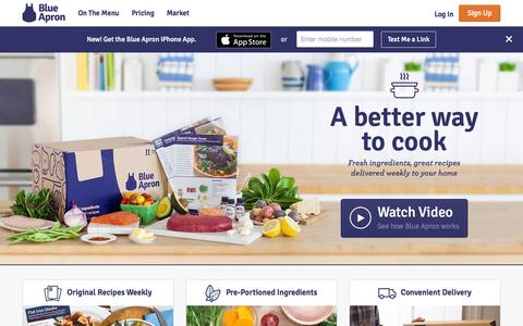 Screenshot of Home Page blueapron.com - Blue Apron: Fresh Ingredients, Original Recipes, Delivered to You - captured Sept. 13, 2015