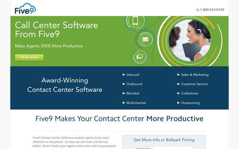 Screenshot of Landing Page five9.com - Contact Center Software | Five9 - captured Oct. 15, 2016