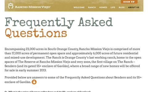 Screenshot of FAQ Page ranchomissionviejo.com - FAQ - Rancho Mission Viejo - captured Oct. 7, 2014