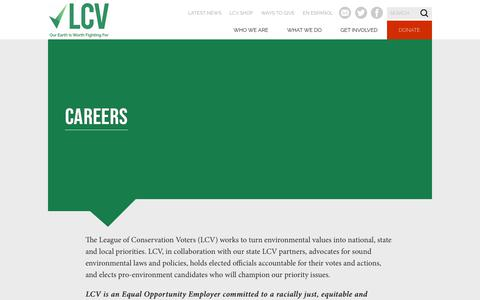 Screenshot of Jobs Page lcv.org - Careers - League of Conservation Voters - captured Oct. 20, 2019