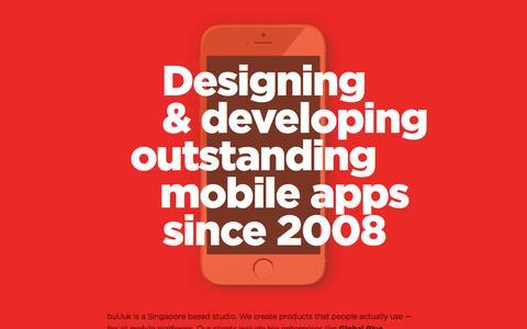 Screenshot of Home Page buuuk.com - Home � buUuk � Mobile App Development Agency | iOS, Android, Blackberry & Windows Phone Developers | Mobile App Development Singapore - captured Nov. 3, 2015