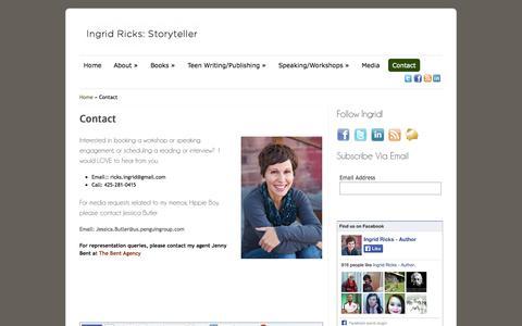 Screenshot of Contact Page ingridricks.com - Hippie Boy: A Girl's story author interviews, readings with Ingrid Ricks | Ingrid Ricks, Author New York Times Memoir Bestseller, Hippie Boy - captured Oct. 6, 2014