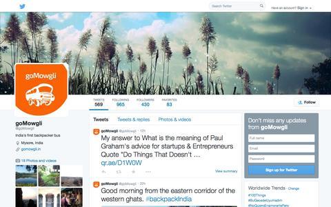 Screenshot of Twitter Page twitter.com - goMowgli (@goMowgli) | Twitter - captured Oct. 23, 2014