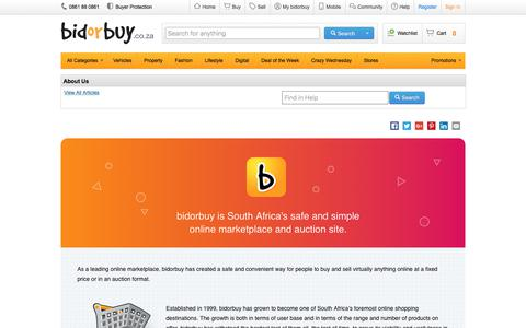 Screenshot of About Page bidorbuy.co.za - About Us - captured June 7, 2017